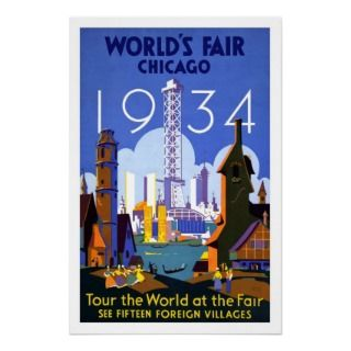 Poster Vintage Worlds Fair Chicago 1934