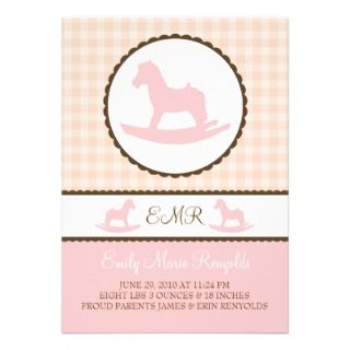 sweet pink little rocking horse announcement to announce your little