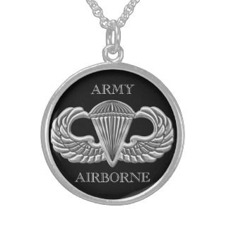 Army Airborne Jump Wings Sterling Silver Necklace