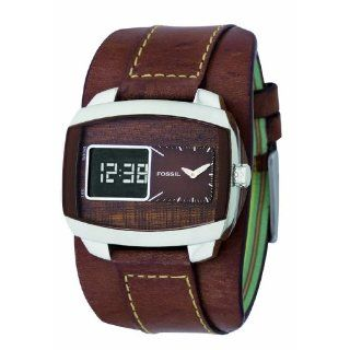 Fossil Herren Armbanduhr Analog   Digital Leder braun Fuel Trend