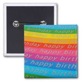 Happy Birthday Rainbow Colored Birthday Card Pins