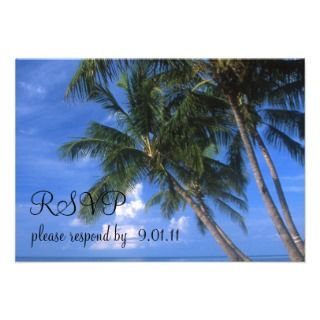 Tropical Key West Beach Palm Tree Wedding Invitations