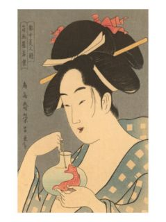 Japanese Woodblock, Lady with Fish Prints