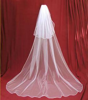 2t white wedding dress bridal veil 3m comb