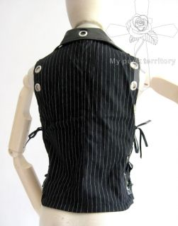 UNISEX Visual Kei Striped Rockabilly Tuxedo Vampire Vest Side Corset