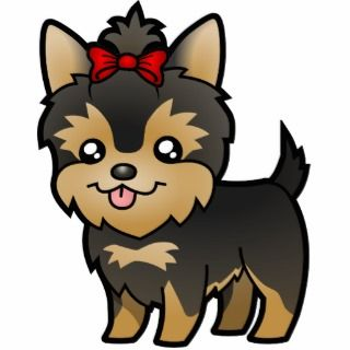 Cartoon Yorkie (puppy with bow) Photo Cutouts