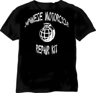 JAPANESE MOTORCYCLE REPAIR KIT   BLACK TSHIRT   6 SIZES