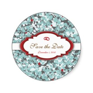 Four Seasons save the date Label Round Sticker
