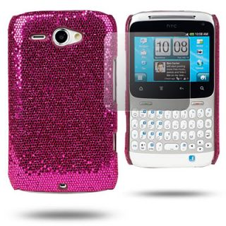PINK GLITTER HARD CASE FOR HTC CHACHA+SCREEN PROTECTOR