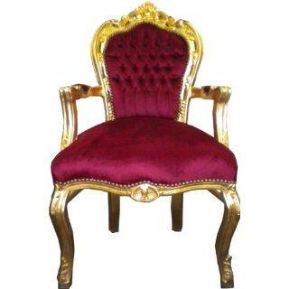 Barock Esszimmer Stuhl mit Armlehnen Bordeaux Rot/Gold Ludwig XIV