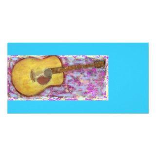 guitarra acústica de la pátina amarilla tarjeta fotografica de