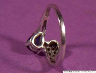 Damen Ring 14K 585 Gold mit 9 Brillanten und Saphir Tropfenform
