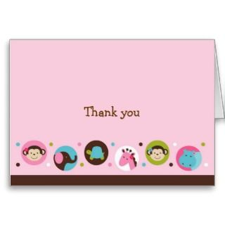 Girl Dot Safari Jungle Thank You Note Cards