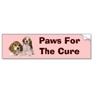 Beagle Breast Cancer Bumper Sticker