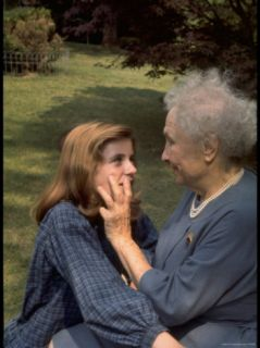 Activist for the Disabled, Helen Keller, 81, Laying Her Hands on the Face of Actress Patty Duke Premium Photographic Print by Nina Leen