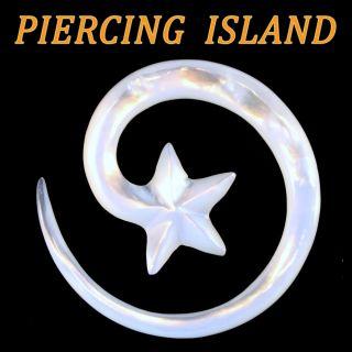 oder 6mm Sichel Dehnungsspirale Perlmutt Muschel Ohr Ear Piercing 305