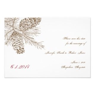 Pine Cone Nature Wedding Save the Date Announcements