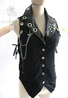 UNISEX Visual Kei Striped Rockabilly Tuxedo Vampire Vest Side Corset