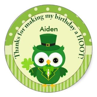 St Patricks Day Birthday Boys Thank You Sticker