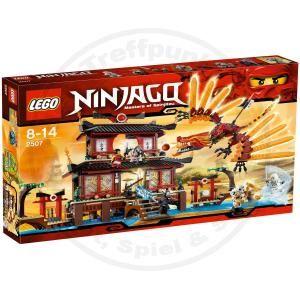 Lego Ninjago 2507 Feuertempel mit Figuren Waffen und dem Feuerdrachen