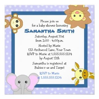 Cute Jungle Animals Blue Baby Shower Invitations invitations by