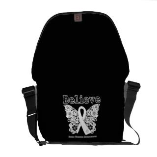 Believe   Lung Cancer Butterfly Courier Bag