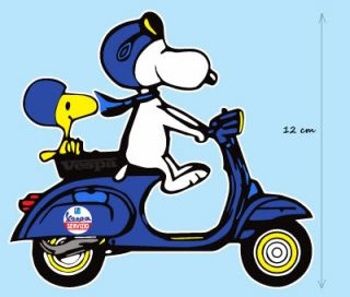 Vespa Snoopy Woodstock Motorrad / Motorbike Aufkleber Car Sticker 02