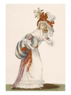 Ladies Striking Day Dress, Plate from Galeries Des Modes Et Costumes Francais, C.1778 87 Giclee Print by Jean Florent Defraine