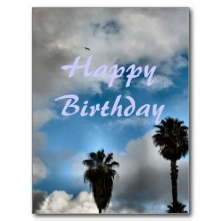 Happy Birthday palm trees and sky Postcards