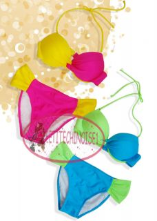 Sexy Neon Two Tone Color Push Up Bikini Set Bademode Badeanzug GW325