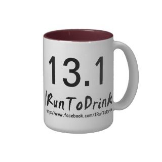 13.1 IRunToDrink Red/White Coffee Mug