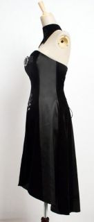sexy womens goth lolita Punk black rock nana dress+necklace S XL Free