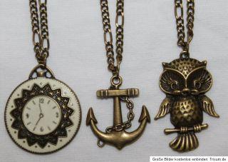 Halskette Anker Uhr Eule Uhu boho Blogger Steampunk Kette