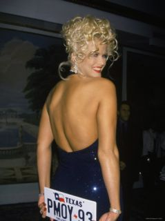 Model Anna Nicole Smith Holding Texas License Plate That Reads Pmoy 93 Premium Photographic Print