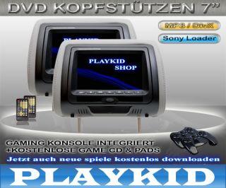 TFT LCD KOPFSTÜTZE MIT DVD SPIELE USB SD GRAU