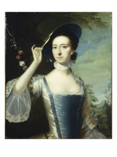 Portrait of a Lady by a Garland of Flowers, in a Landscape Giclee Print by Joseph Wright of Derby