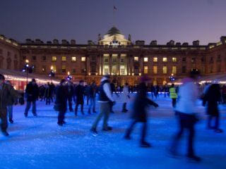 Winter Ice Skating Rink, Somerset House, London, England, United Kingdom, ope Photographic Print by Ethel Davies