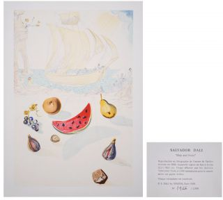 Salvador Dali   Ship and fruits   Fotolitho   limit.