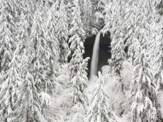 North Falls surrounded by snow covered trees Photographic Print by Craig Tuttle