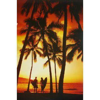 Surfing  Sunset Beach Couple Palms Nature Paper Postergröße 36 x 24