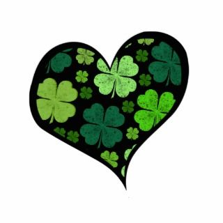 Green Black Saint Patrick Day Hearts Clovers Photo Cut Outs