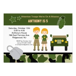 Army Camouflage Soldier Kids Birthday Party Custom Invitation