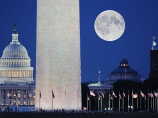 Moon over mall in Washington D.C. Photographic Print by John Aikins