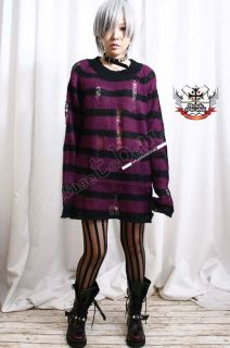 Punk KERA Ladder LOOSE Sweater PURPLE Eggplant 8 STRIPE