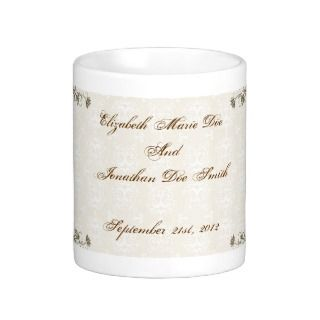 Wedding Date Damask Coffee Mug