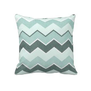 Teal Blue Zig Zag Pattern Throw Pillows
