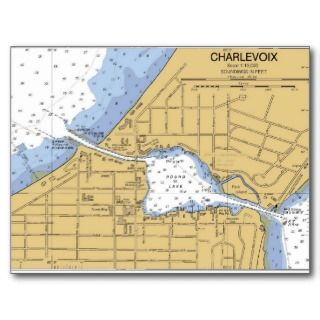 Charlevoix, MI Round Lake Nautical Chart Postcard