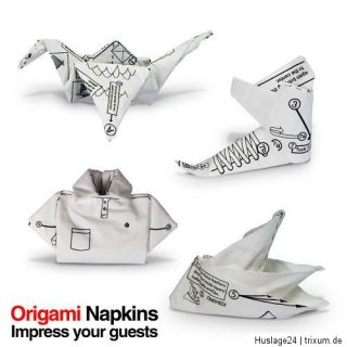Servietten mit Origami Motiven 4 verschiedene Faltmotive 40 Stück