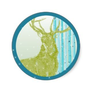 Vintage Green Buck Deer Aqua Birch Tree Snowflake Round Sticker