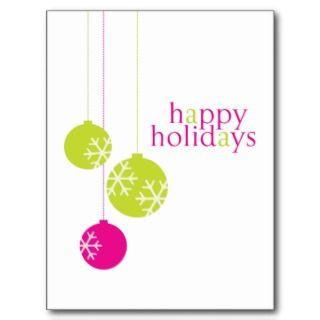 Retro Modern Holiday Ornaments Christmas Postcard